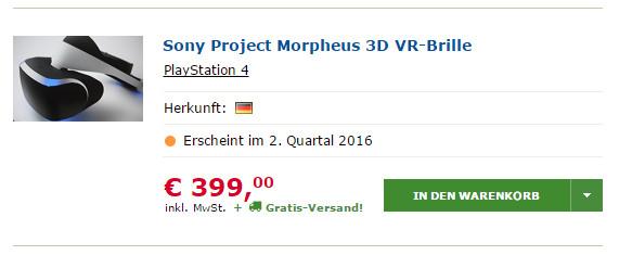 project morpheus le prix du casque aussi cher qu 39 une ps4. Black Bedroom Furniture Sets. Home Design Ideas