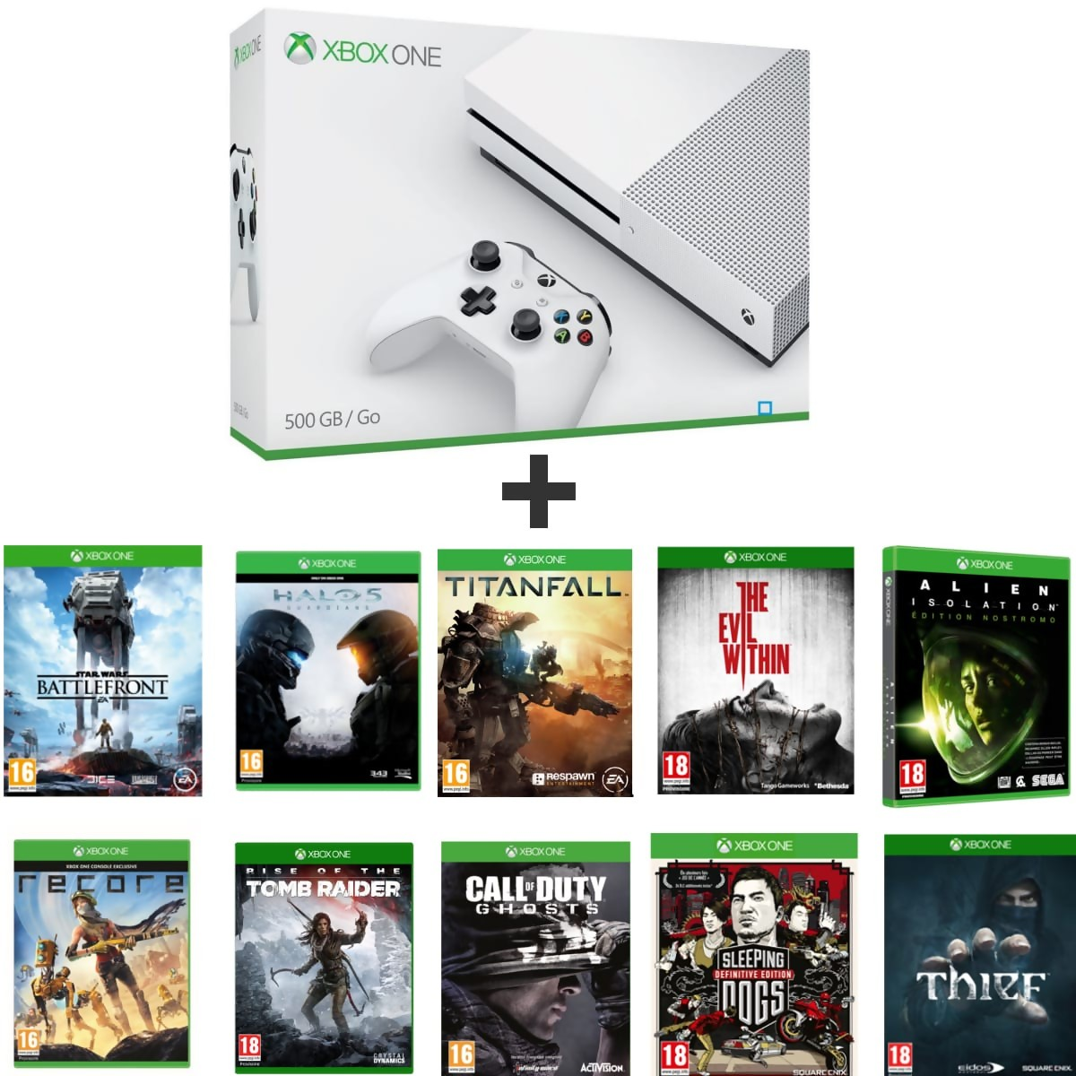 xbox one s la console vendue avec 10 jeux un prix de folie. Black Bedroom Furniture Sets. Home Design Ideas