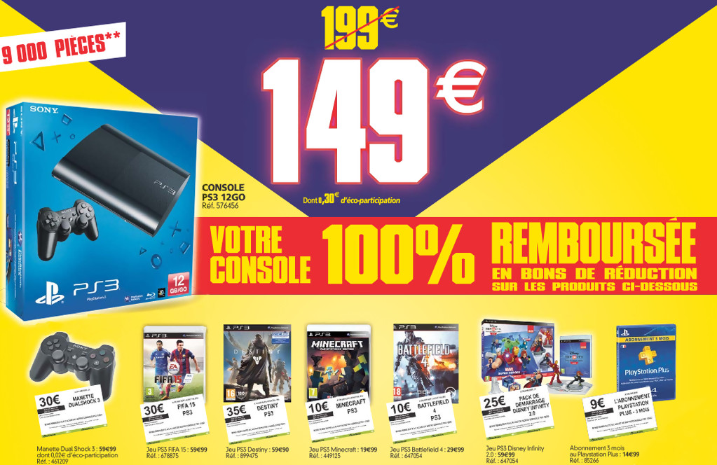 ps3 la console 100 rembours e chez auchan. Black Bedroom Furniture Sets. Home Design Ideas
