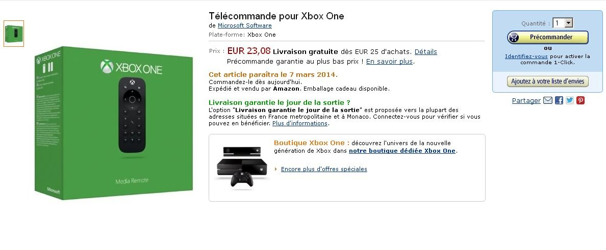 xbox one la t l commande en pr commande sur amazon. Black Bedroom Furniture Sets. Home Design Ideas