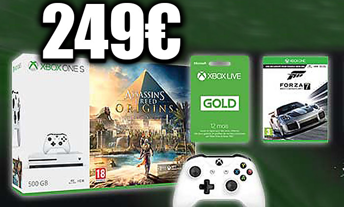 xbox one s un pack 500 go 2 manette 3 jeux 249. Black Bedroom Furniture Sets. Home Design Ideas