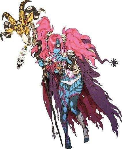 禍々しい杖をもったピンクの髪のゾンビ