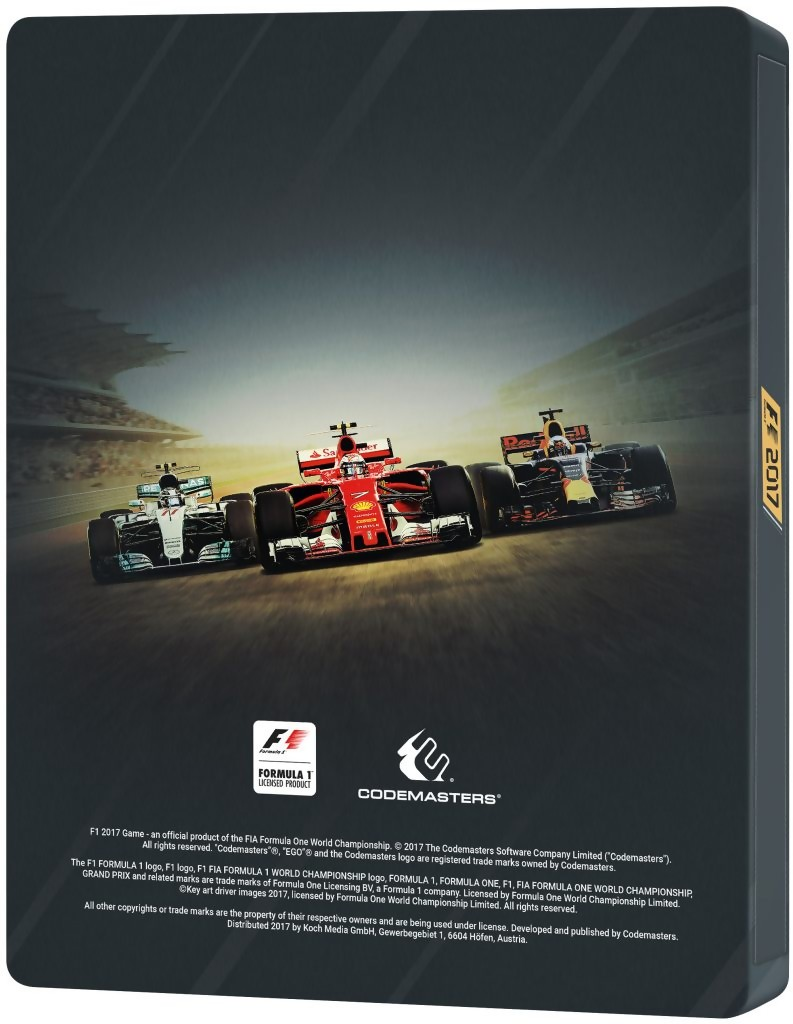 f1 2017 tous les d tails sur le steelbook du jeu. Black Bedroom Furniture Sets. Home Design Ideas