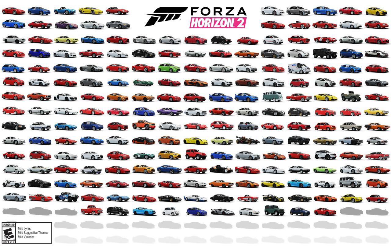 forza horizon 2 : les 210 voitures en une seule image