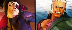 Street Fighter 5 : Juri en combinaison latex moulante et Urien en costard