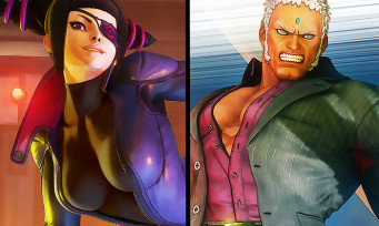 Street Fighter 5 : Juri en combinaison latex moulante et Urien en costard