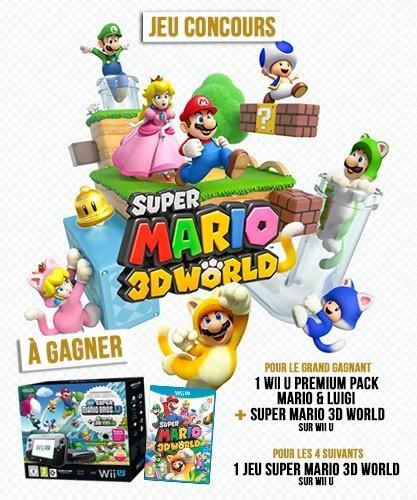 super mario 3d world un jeu concours pour gagner une wii u et des jeux. Black Bedroom Furniture Sets. Home Design Ideas