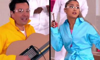 Ariana Grande chante avec Jimmy Fallon en utilisant Nintendo Labo
