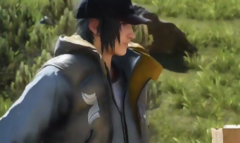 Final Fantasy XV : gameplay avec Noctis en doudoune sur un Chocobo