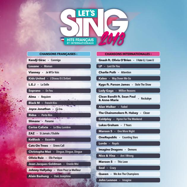 Let s Sing 2018 : Hits Français et Internationaux